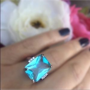 Jewelry - Aquamarine Sterling Silver Plated Ring